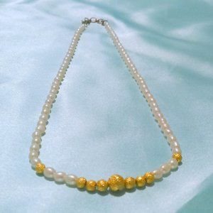 White Freshwater Pearl and Gold Bead Necklace